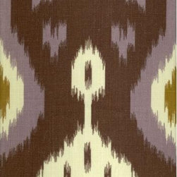 Batavia Ikat Fabric - Have you jumped on board the ikat (pronounced E-cot) trend yet? This print makes great upholstery fabric for pieces like headboards and skirted tables. I love these colors!