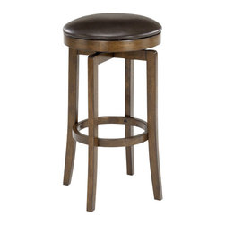 Hillsdale Furniture - Hillsdale Brendan Backless Counter Height Stool - Simple yet handsomely designed the Brendan stool is a fabulous compliment to our Brendan bar or any kitchen or bar area. The stool's brown cherry finish is enhanced by the brown faux leather seat and swivels 360 degrees.