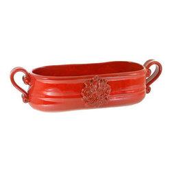 Artistica - Hand Made in Italy - Scavo Firenze: Red Selenio - Oblong Jardinere (Lg) - Scavo Rosso Selenio: