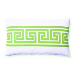 5 Surry Lane - Indoor Outdoor Greek Key Geometric Modern Decorative Throw Pillow Lumbar, Green, - Designer Greek Key Lumbar Pillow.  100% polyester.  Down insert.  Hidden zipper closure.