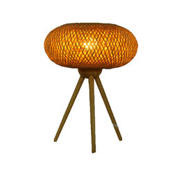 Fateday - Eco-Friendly Handwoven Tripod Bamboo Wooden Table Lamp - This table lamp is made with handwoven bamboo as the lamp shade and tripod-style wood as its base. Complements any living room or bedroom and gives a soothing feel. It is of Japanese style with contemporary minimalistic designs.