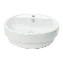 Caracalla - Circular White Ceramic Self-Rimming Bathroom Sink - Bring a modern shape to your bathroom with this sleek circular vessel sink. Italian crafted from high-quality white ceramic, this elegant self-rimming sink will look incredibly chic as the centerpiece of your vanity or countertop.