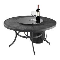 "Outdoor Greatroom - Night Fire Round Chat Height Fire Pit Table - The Night Fire round outdoor gas fire pit table is as beautiful as it is functional. It comes with a weather-proof aluminum mesh top seamlessly integrates with almost any decor. The 16"" round stainless steel Crystal Fire burner is rated for 55,000 BTU, that will truly light up the night and add warmth to your outdoor space. This burner is made from high quality stainless steel and includes tempered, tumbled glass, an LP hose and regulator, a metal flex hose, a gas valve, and a push button igniter. With just a push of a button, a beautiful clean-burning fire appears atop a bed of highly reflective Diamond glass fire gems, simply adjust the flame height to your desired setting and enjoy the magic and ambience of a warm glowing fire. UL Listed to guarantee safety and quality. 1 Year Warranty. Optional accessories include: Vinyl Cover (CVRCF42); Black Glass Burner Cover (CFT-GLASS); Square / Round Glass Guard (GLASS-GUARD-20; GLASS-GUARD-20-R); Log Set (CF20-LOG-SET); Lazy Susan Ring (LAZY-SUSAN-RING); Ice Bowl (CFP42-K5)."