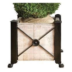 BoBo's Intriguing Objects - Brickmaker Planter - Low - Show your commitment to the planet in your own backyard. This iron-framed planter is made of reclaimed and handsomely repurposed Norwegian pine that was originally used as brickmaker pallets.
