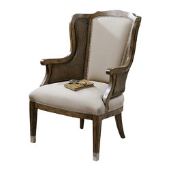 "Uttermost - Uttermost Nessa High Back Wing Chair - Nessa High Back Wing Chair by Uttermost High Back And Curvy Wings Make A Grand Statement In A Warm, Sun-washed Pecan Finish On Solid White Poplar With Cane Sides And Beige Faux Lambskin, Accented By Nickel Nail Head Trim And Metal Tips On The Grooved, Tapered Legs. Seat Height Is 18""."