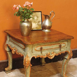 """Polychromed & gilt cabriole leg """"Lima"""" end table - BC-OTBL-04-END: This beautiful carved, polychromed and gilt Spanish colonial end table measures 27"""" L x 27"""" D x 26"""" H. Based on an 18th century table from Peru, the color and texture of this table are exquisite."""
