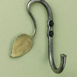 Hand-Forged Recycled Steel Leaf Hook - Since this recycled steel leaf hook is wax-rubbed, it provides a natural barrier against moisture, making it the perfect hook for outdoors. Mount a few on your deck or patio next to your hot tub and hang your towel or robe nearby, making getting out that much easier!