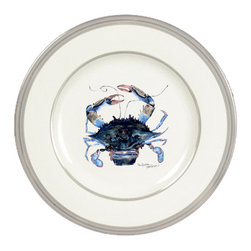 Caroline's Treasures - Male Blue Crab Ceramic Dinner Plate Round Platinum Rim - Heavy Round Ceramic Plate with Platinum Rim 10 1/2  inches.  LEAD FREE and diswasher safe.  The plate has been refired over 1600 degrees and the artwork will not fade or crack. Made by Caroline's Treasure in Mobile, AL
