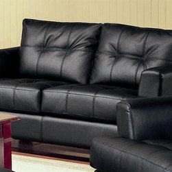 Coaster - Samuel 36 in. Contemporary Loveseat (Black) - Choose Upholstery: BlackHigh plush tufted back cushions. Deep t-cushions on seat. Sleek track arms. Square tapered wood feet. Solid hardwood frame with webbed backs. Sinuous spring bases for support and durability. Pocket coil cushion. Made from 100% bonded leather. 67.5 in. L x 36 in. W x 36 in. H. WarrantyThese simple pieces are easy to blend with your home decor, and will help you create the comfortable contemporary style you desire. Perfect when space is limited, this fantastic bonded leather loveseat is manufactured to high quality standards. Feel your cares melt away as your body is surrounded in luxurious comfort. This is an excellent choice for any person who appreciates great design and excellent value. No matter which of the timeless colors you choose for this amazing bonded leather loveseat, you will know you made a smart decision. Great styling and supreme comfort make this two seater an excellent choice.