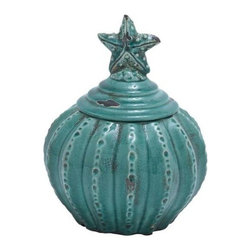 "Benzara - Ceramic Jar with Star Shaped Design and Glossy Finish - Ceramic Jar with Star Shaped Design and Glossy Finish. Painted in a bright and vibrant blue color, this jar will be a great highlight when placed along with other decorative element in your living room. It comes with following dimensions 8""W x 8""D x 10""H. 4 1/2""D."