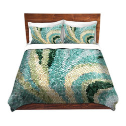 DiaNoche Designs - Duvet Cover Microfiber - Mosaic Swirl - Super lightweight and extremely soft Premium Microfiber Duvet Cover in sizes Twin, Queen, King.  This duvet is designed to wash upon arrival for maximum softness.   Each duvet starts by looming the fabric and cutting to the size ordered.  The Image is printed and your Duvet Cover is meticulously sewn together with ties in each corner and a hidden zip closure.  All in the USA!!  Poly top with a Cotton Poly underside.  Dye Sublimation printing permanently adheres the ink to the material for long life and durability. Printed top, cream colored bottom, Machine Washable, Product may vary slightly from image.