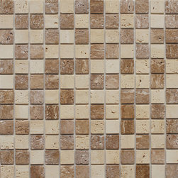 Instant Mosaic Stone Peel-and-Stick Tile - Beautiful stone in neutral tones would look great with wood cabinets.