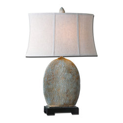 Uttermost - Seveso Light Blue Table Lamp - Textured Ceramic Base Finished In A Light Blue Glaze With A Light Rust Wash And Antiqued Silver Accents. The Oval Semi Drum Shade Is An Oatmeal Linen Fabric With Natural Slubbing. Number Of Lights: 1, Shade: Oval Semi Drum Shade, Shade Size: Height: 12, Top: 19w X 10d, Bottom: 21w X 11d, Voltage: 110, Wattage: 150w, Bulbs Included: No