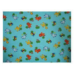 """SheetWorld - SheetWorld Crib Sheet Set, Safari Animals Aqua - This 100% cotton flannel"""" crib / toddler sheet is made of the highest quality fabric that's double napped. That means these sheets are the softest and most durable. Sheets are made with deep pockets and are elasticized around the entire edge which prevents it from slipping off the mattress- thereby keeping your baby safe. These sheets are so durable that they will last all through your baby's growing years. We're called sheetworld because we produce the highest grade sheets on the market today. Features the cutest safari animals.  Size: 28 x 52. Set includes 1 fitted sheet- 1 flat sheet- and 1 todder size pillow case."""" Made in the USA."""