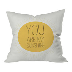 DENY Designs - Allyson Johnson You Really Are My Sunshine Outdoor Throw Pillow, 16x16x4 - Do you hear that noise? It's your outdoor area begging for a facelift and what better way to turn up the chic than with our outdoor throw pillow collection? Made from water and mildew proof woven polyester, our indoor/outdoor throw pillow is the perfect way to add some vibrance and character to your boring outdoor furniture while giving the rain a run for It's money.