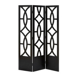 "Benzara - Black Finish Diamond and Circle Pattern Room Dividers Wood 3 Panel Screen 72""H - Black Finish Diamond and Circle Pattern Room Dividers Wood 3 Panel Screen 72""H, 48""W."