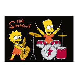 "Fun Rugs - Rock Stars-Black Simpsons Collection - High Pile Rug - 5'3"" x 7' - This colorful rug has Simpson rock stars black back design Collection Name: Simpsons; 100% Nylon Dimensions: 5'3"" x 7'6"""