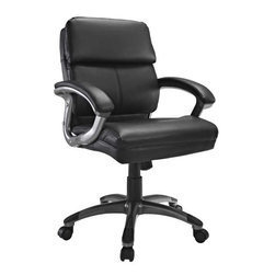 Modway - Stellar Mid Back Office Chair in Black - Mobilize your own constellation of influence with the Stellar Mid Back Office Chair. Plush padded cushions and sleek dual toned curved arms accentuate this chair modeled for leaders imbibed with an entrepreneurial spirit. Stellar also comes with lumbar support, pneumatic height adjustment, a black nylon base, dual wheel carpet casters and a full 360 degree swivel.