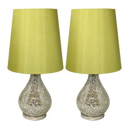 """ecWorld - Urban Designs Green Mosaic Cracked Glass 24"""" Slim Table Lamp - Set of 2 - Add stunning glamour and remarkable luxury to contemporary or Art Deco inspired home decor. These table lamps are handcrafted by expert artisans and feature a jar style base embellished with crackled, light-catching mosaic art glass. Ideal to uplift any room decor."""