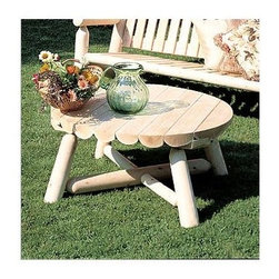 """Rustic Cedar - Round Scalloped Edge Outdoor Coffee Table - This rustic & rugged Light Cedar Round Coffee Table is made from naturally durable Cedar wood and displays a rough-hewn charm that makes it ideal for outdoor use.  The top is crafted from split Cedar logs resulting in an attractive scalloped appearance.  This charming Round Scalloped Edge Outdoor Coffee Table will add a pastoral presence to your yard or garden setting.  Crafted of decay-resistant Light Cedar, this 36"""" diameter round coffee table stands 18' high.  You won't want to spend another day outside without this Round Coffee Table. * This charming Round Scalloped Edge Outdoor Coffee Table will add a pastoral presence to your yard or garden setting.. Crafted of decay-resistant Light Cedar, this 36"""" diameter round coffee table stands 18' high.. Makes a great plant stand or occasional table!. 36"""" Round x 18"""" high. Weight: 35lbs."""