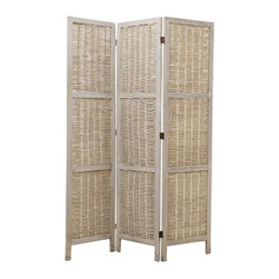 Screen Gems - Greyson Privacy Screen Divider - 3 panel Paulownia frame with grey washing willow screen. Can be used indoor/covered out door setting. 52 in. W x 67 in. H (20 lbs.)