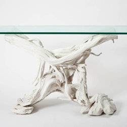 Driftwood Console - This console is amazing and dramatic and unexpected for a bedroom. I'd place it across from the bed and arrange a salon-style wall of art over it.