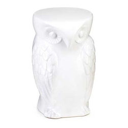Wise Owl - Wise owl decorative stool - This remarkable owl is ready to perform a balancing act in your home or garden.  Use your imagination as you designate it as a chic seating option or a clever side table, or even an indoor/outdoor display for a collection of your favorite candles.