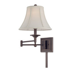 "Quoizel Lighting - Quoizel Q1560PN Signature 1 Light Swing Arm Light/Wall Lamp, Palladian Bronze - Swing in style! The Baker wall-mounted swing-arm fixture is available in two versions: a more contemporary look in a Brushed Nickel finish with a white fabric shade or a traditional Palladian Bronze finish with a cream fabric shade. It measures 18"" high x 26"" wide and is illuminated by one 100-watt medium-base bulb."