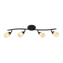 Hampton Bay - Hampton Bay 4-Light Bronze Directional Ceiling or Wall Track Lighting Fixture RB - Shop for Lighting & Fans at The Home Depot. The Hampton Bay 4 Light Bar Oil Rubbed Bronze Directional Fixture will provide style and light to any decor. The traditional styling of this fixture features a hand painted oil rubbed bronze finish with opal white glass shades. The individual heads are directional and can be aimed to highlight or create dramatic lighting effects.