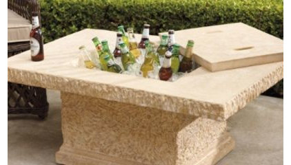Faux-stone Outdoor Coffee Table and Beverage Tub - Frontgate