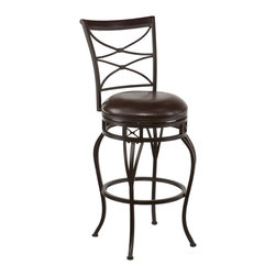 SEI - Kingsgate Swivel Bar Stool - Enrich your home with stylish convenience. The intricate details, intersected arcs, and curved legs of this bar stool yield a beautiful, timeless appearance. A powder-coated, dark champagne finish and durable steel frame deliver lasting quality. It features bar height seating, a cozy foam seat covered in rich dark brown vinyl, and a backrest accent in a rich walnut finish wood. A full 360 degree swivel and footrest ring provide comfort and ease. The detailed, curvaceous form and attractive finish coordinate with traditional to contemporary decor styles. Ideal for the kitchen, breakfast nook, bar, or dining area.