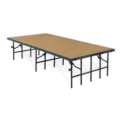National Public Seating - National Public Seating Portable Stage w/ Hardboard 36W x 96L x 8H Portable Stag - National Public Seating's Single-Height Portable Stage and Seated Riser Section w/ Hardboard Deck is perfect for all your school performances and assemblies, because it's a cinch to set up and tear down. The 14-gauge steel legs fold easily for storage and lock securely in place when your stage is in use. A sturdy 16-gauge steel frame supports the solid plywood deck, so it's sure to stand up to years of wear and tear. Use the built-in ganging brackets to create custom stage arrangements by joining multiple same-sized stages. Or combine stages of multiple heights to create a custom seated riser. This model features a durable hardwood laminate stage surface.