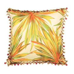 """Canaan - Coastal Tropical Leaf Pattern Print 18"""" x 18"""" Throw Pillow - Coastal tropical leaf pattern print 18"""" x 18"""" throw pillow with berry tassel trim. Measures 18"""" x 18"""" made with a blown in foam. These are custom made in the U.S.A and take 4-6 weeks lead time for production."""