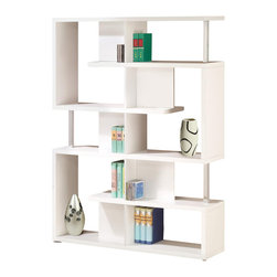 Adarn Inc - Modern White/Black Finish Bookcase w/ Compartments Chrome Support Beams, White - A geometric combination of large plus small compartments and give this bookcase a stylish, modern flair. Store and display items with this sleek white/black finish bookcase in a living room or office. Chrome support beams complete the its fun style. This bookcase has it all with versatile options and a unique design. Other Decoration is not Included.