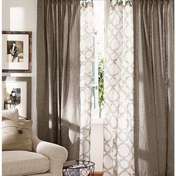 "Kendra Sheer Trellis Pole Pocket, 50 x 63"", Brownstone - Printed with a subtle and classic trellis motif, our sheer drape softly filters the light. 50"" wide; available in four lengths Woven of pure linen. Hangs from the pole pocket or converts to ring-top style with the 10 included drapery hooks. Use with our Clip Rings (sold separately). Watch a video on {{link path='/stylehouse/videos/videos/h2_v1_rel.html?cm_sp=Video_PIP-_-PBQUALITY-_-HANG_DRAPE' class='popup' width='420' height='300'}}how to hang a drape{{/link}}. Dry-clean. Imported."