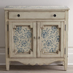 Horchow - Melrose Chest - With its floral-motif top and door insets and shapely apron, this chest is a real charmer. And it provides a bit of storage space as well. Made of birch. Hand-painted top and door insets. Distressed, antiqued-beige finish with china-blue highlights....