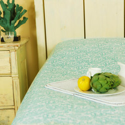 Luxury  Bedspreads - Seaside Savvy Beach Style bedspread, a lovely aqua and teal motif that brings the soothing smell of sea salt and gentle sound of the lapping ocean into your bedchamber.Hand Block Printed from Attiser