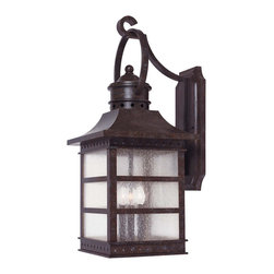 Savoy House - Savoy House 5-441-72 Seafarer Wall Mount Lantern - With design inspired by a nautical lighthouse featuring geometric embossed diamond rivets, this family, finished in Rustic Bronze with Pale Cream Textured glass, is perfect for any casual home.