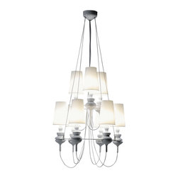 IMPORT LIGHTING & FURNITURE - Josephine Queen Chandelier, White, Queen 6.3 - The Josephine collection creates a democratic quality to the Mediterranean style. It includes chandeliers, pendant lamp, and table lamp.