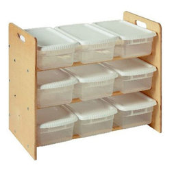 Little Colorado - Nine Bin Toy Organizer - 068NA - Shop for Childrens Toy Boxes and Storage from Hayneedle.com! The Nine Bin Toy Organizer lets you add tons of storage to playrooms or bedrooms& and feel good about your choice! This eco-friendly organizer features nine see-through bins for storage. The storage bins are 6 quarts in size so you'll have plenty of room inside. The frame is made from baltic birch plywood and birch dowels for added strength and stability. A smart solution for storing toys books and drawing supplies.Little Colorado is a Green CompanyAll finishes are water-based low-VOC made by Sherwin Williams and other American manufacturers. Wood raw materials come from environmentally responsible suppliers. MDF used is manufactured by Plum Creek and is certified green CARB-compliant and low-formaldehyde. All packing insulation is 100% post-consumer recycled. All shipping cartons are either 100% post-consumer recycled or are made of recycled cardboard.About Little ColoradoThis item is made by Little Colorado. Begun in 1987 Little Colorado Inc creates solid wood hand-crafted children's furniture. It's a family-owned business that takes pride in building products that are classic stylish and an excellent value. All Little Colorado products are proudly made in the U.S.A. with lead-free paints and materials. With a look that's very expensive but a price that is not Little Colorado products bring quality and affordability to your little one's room.