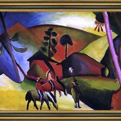 """Art MegaMart - August Macke Indians on Horses - 18"""" x 24"""" Framed Premium Canvas Print - 18"""" x 24"""" August Macke Indians on Horses framed premium canvas print reproduced to meet museum quality standards. Our Museum quality canvas prints are produced using high-precision print technology for a more accurate reproduction printed on high quality canvas with fade-resistant, archival inks. Our progressive business model allows us to offer works of art to you at the best wholesale pricing, significantly less than art gallery prices, affordable to all. This artwork is hand stretched onto wooden stretcher bars, then mounted into our 3 3/4"""" wide gold finish frame with black panel by one of our expert framers. Our framed canvas print comes with hardware, ready to hang on your wall.  We present a comprehensive collection of exceptional canvas art reproductions by August Macke."""
