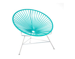 Innit Chair, Chrome Frame With Turquoise Weave - This iconic chair is perfect for outdoor living, as the woven vinyl is weather poof and easy to clean. But add it to a living room scheme and it brings the perfect pop of personality. You can order from a rainbow of colors to contrast the chrome base or stick with the classic black vinyl for a modern look.
