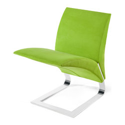 Zuri Furniture - Green Microfiber Bouncy Dining Chair - The name says it all. The whimsical Bouncy chairs uniform construction allows it to bounce up and down as you sit in it. Destined to become a conversation piece in any room, the The Bouncy contemporary chair is ideal for residential or commercial use. Features one piece chrome plated steel base, 300 lb. weight capacity, and suede microfiber available in multiple color choices.