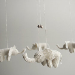 Baby White Elephants Mobile by Patricija - This adorable little mobile of soft knit elephants is a must.