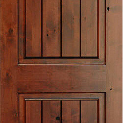 Homestead Doors, Inc - Rustic Arch 2-Panel V-Grooved Knotty Alder Wood Door - This Knotty Alder door features high character with knots, wormholes, etc. yielding an authentic rustic style for your southwestern or country home. The v-grooved panels add a plank effect, and the deep, rich stain applied to the wood really brings out its beauty.