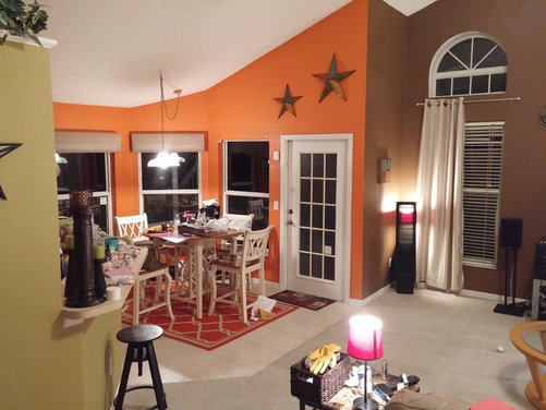 open living room and kitchen nook paint