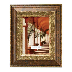 Lawrence Frames - Carved Antique Bronze 8x10 Picture Frame Ornate Design - A classic wide profile with silver and bronze combination frame with classic old world architecture pattern around the inside edge.  This composite frame has a rich and lustrous silver and bronze finish.  High quality black velvet backing with an easel for vertical or horizontal table top display, and hangers for vertical or horizontal wall mounting.    Heavy weight 8x10 composite picture frame is made with exceptional workmanship and comes individually boxed.