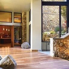 Allison Inn- Newberg  Like the stone, glass, wood, black elements