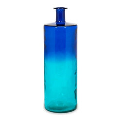 Cobalt and Turquoise Luzon Tall Oversized Recycled Glass Vase - *As rich as the fragrant spice markets of India and as deep as natural cotton dyes, the tall Luzon glass vase unites cultural influences to create an indulgence of the senses in blue ombre tones. Made from recycled glass.