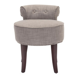 Safavieh - Calabasas Vanity Stool - The adorable Calabasas vanity chair is petite enough to tuck in a bathroom or bedroom, and brimming with feminine style.  Graceful cherry mahogany-toned birch wood legs, deep seat and diminutive button tufted back are designed for indulgent comfort.  Upholstered with stone viscose/polyester blend fabric with self-welting for a decorator touch.
